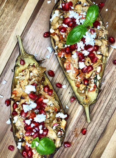 Bagte auberginer med Frijsenborg kylling og granatæble