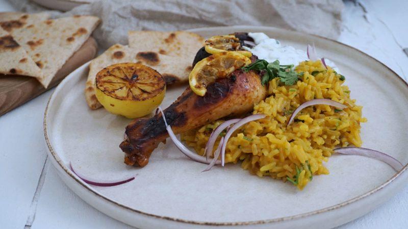 Frijsenborg kyllingelår med tzatziki og ris