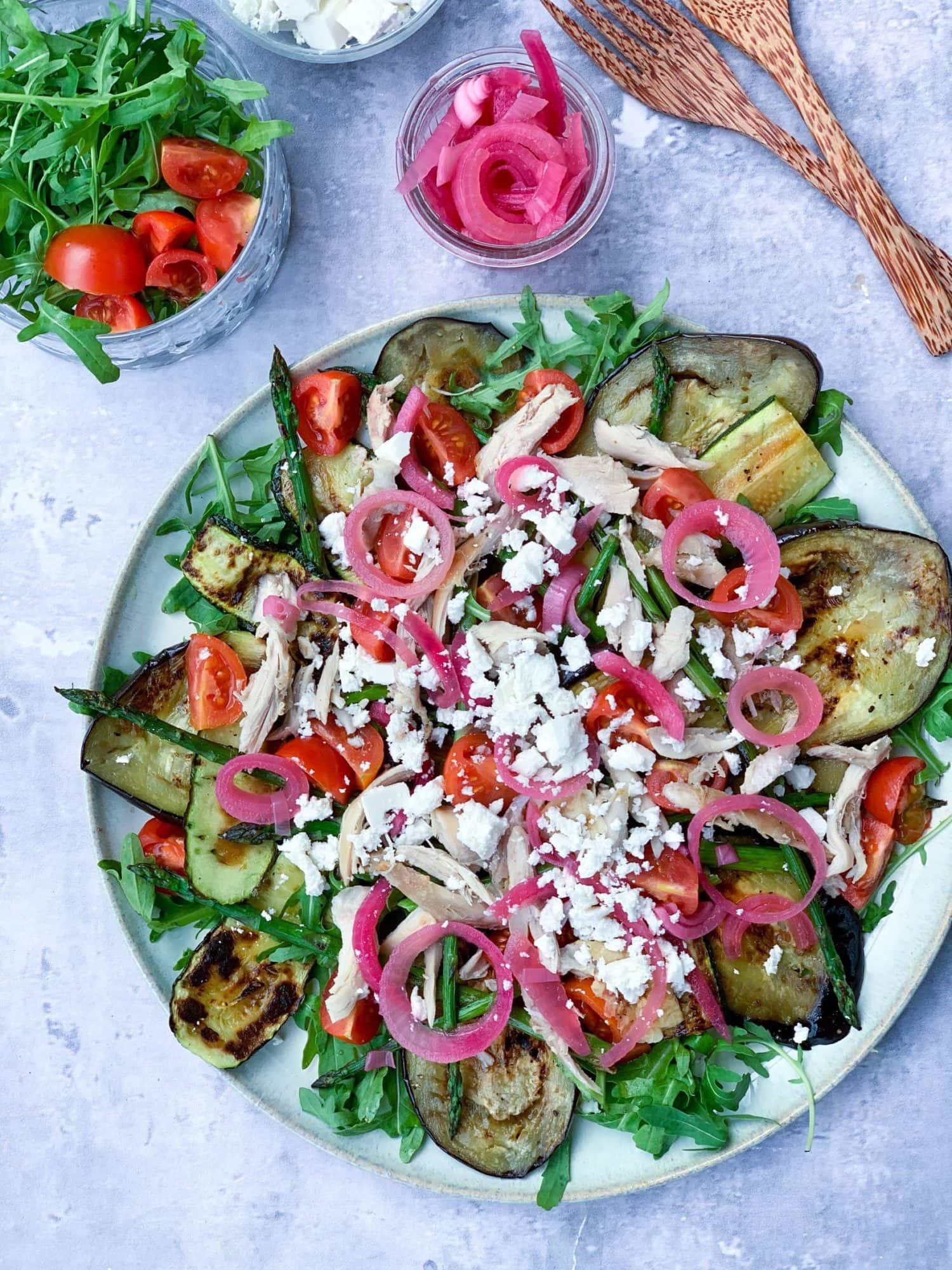 Frijsenborg salat med kylling og grillede grøntsager